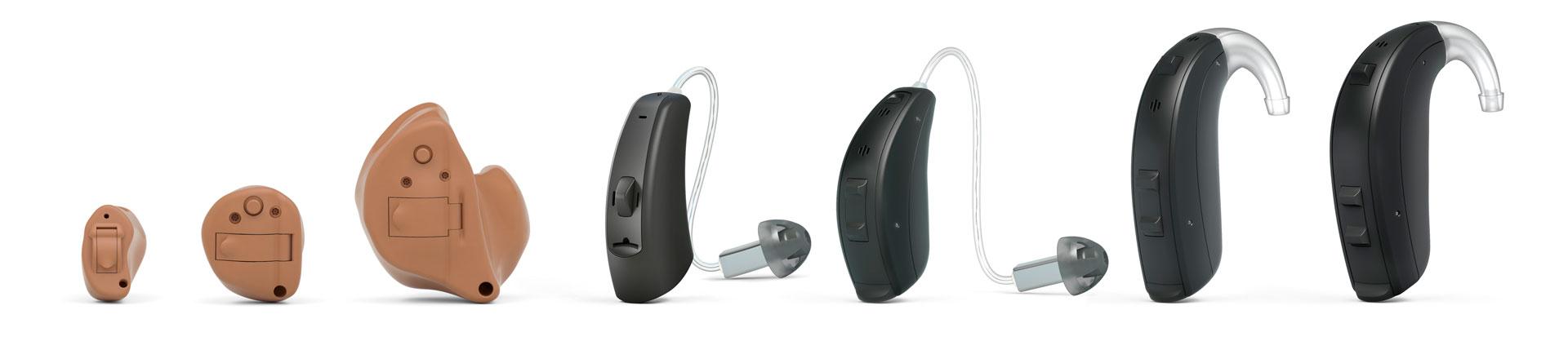 Hörlösungen von klein bis klitze-klein, von hinter dem Ohr bis in dem Ohr.